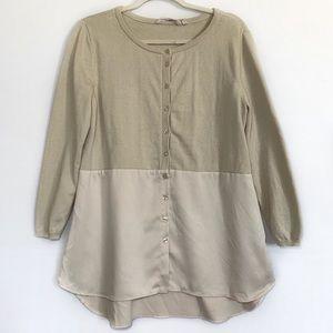 Soft Surroundings Button Front Blouse Knit Satin